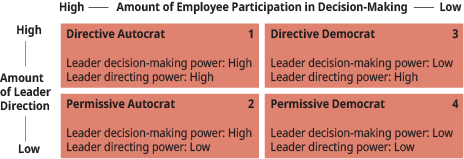 "A diagram shows the matrix of the ""Directive/Permissive Leadership Styles"" depicting four different leadership styles."