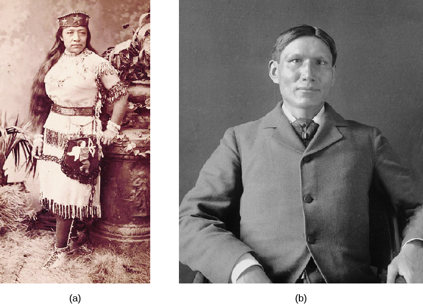 Image A is of Sarah Winnemucca wearing traditional Paiute clothing. Image B is of Charles Eastman wearing a suit.