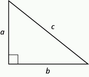 A right triangle is shown. The right angle is marked with a box. Across from the box is side c. The sides touching the right angle are marked a and b.