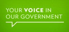 "An image of a comment bubble that reads ""Your voice in our government""."
