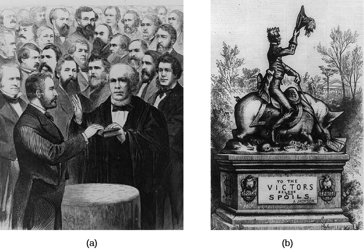 "Image A is an illustration of Ulysses S. Grant being sworn in as President of the United States. Image B is a cartoon featuring a statue of Andrew Jackson riding a pig over a bed of skulls. A plaque on the pedestal reads ""To the victors belong the spoils."""