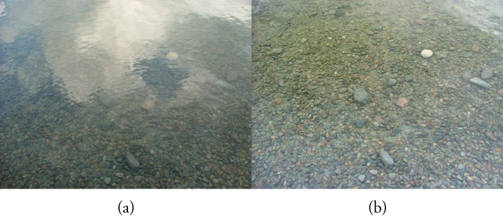 "This figure shows two photographs arranged side by side. The left photograph, labeled ""(a)"", shows a river bed that looks hazy because of interfering gray and white patches. The right photograph, labeled ""(b)"", shows the same area of the river bed with almost no interfering gray patches, so that the pebbles on the bed are clearly visible."