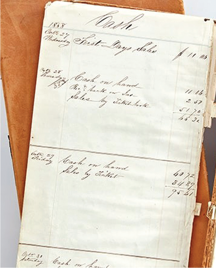 Photograph of an accounting journal from 1858.