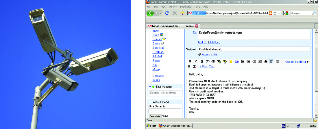Left shows a surveillance camera. Right shows an e-mail sharing insider information about a stock purchase.