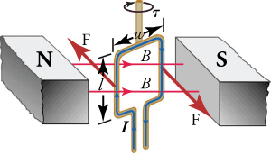 Schematic drawing of an electric motor, including a horizontal magnetic field and a vertical loop of wire through which a current is passed. Torque is exerted on the wire, turning the shaft to which the magnetic field is attached.
