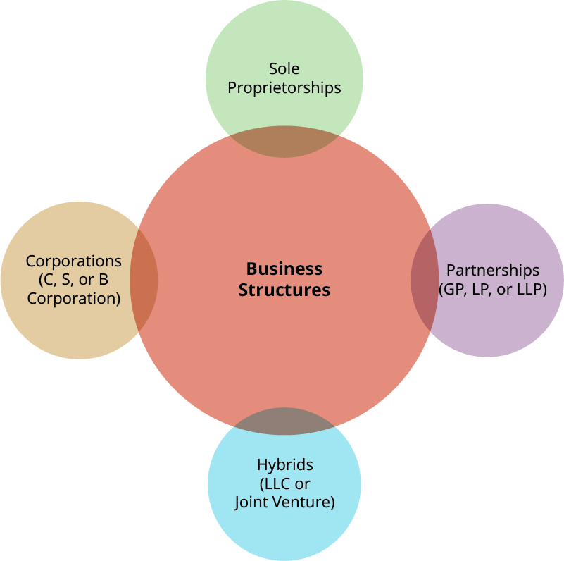 Cartoon with Business Structures in the middle, surrounded by slightly overlapping circles of Sole Proprietorships, Corporations (C-corp, S-corp, or B-corp), Partnerships (GP, LP, of LLP) and Hybrids (LLC or Joint Venture).