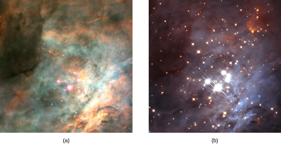 Brown Dwarfs in the Orion Nebula. In image (a), taken in visible light, bright clouds of gas dominate the image. Just a few bright stars around the Trapezium are visible below center. In image (b), taken in infrared light, much less nebulosity is seen and many more stars cover the entire field.