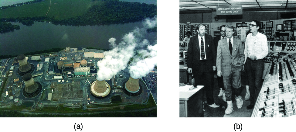 "Two photos, labeled ""a"" and ""b"" are shown. Photo a is an aerial view of a nuclear power plant. Photo b shows a small group of men walking through a room filled with electronics."