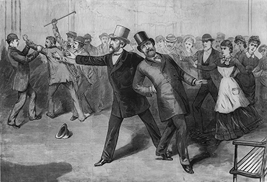 An illustration shows Garfield leaning backward in pain with a crowd assisting him, while Guiteau struggles with several men in the background.