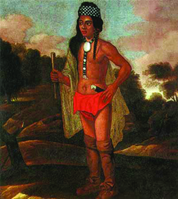 A 1681 painting depicts Niantic-Narragansett chief Ninigret. He wears what appear to be animal-skin footwear and loincloth, along with a patterned fabric headband, a fabric cloak, and a necklace that includes a round metallic piece.