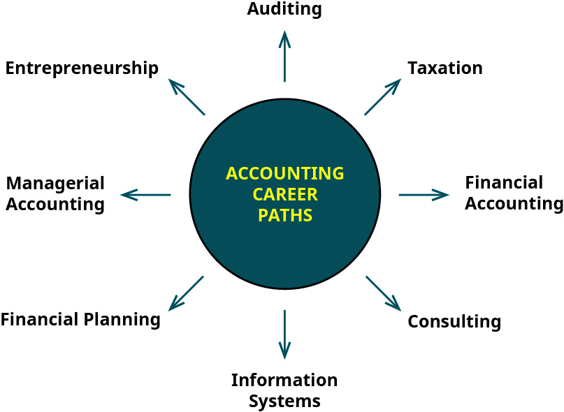 "A hub labeled ""Accounting Career Paths"" with eight arrows pointing out of it to the following career paths: Auditing, Taxation, Financial Accounting, Consulting, Information Systems, Financial Planning, Managerial Accounting, Entrepreneurship."