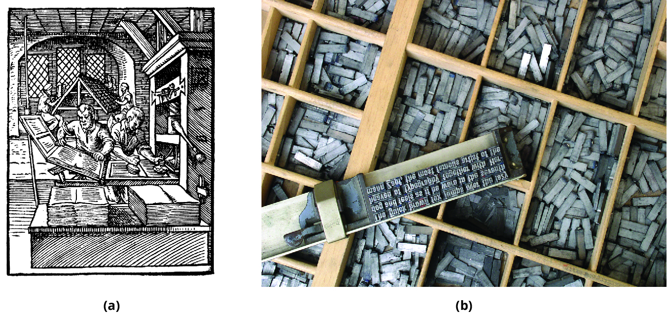(a) Drawing of men working on a printing press. (b) Photo of movable type for a printing press.