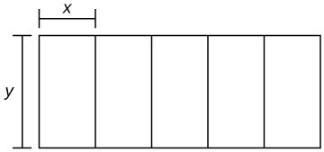 A rectangle is divided into five sections, and each section has length y and width x.