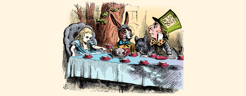An image from the book Alice in Wonderland is shown. Alice is attending a tea party with the Mad Hatter and the White Rabbit.