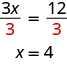This image shows the equation 3x divided by 3 equals 12 divided by 3. Below this equation is the equation x equals 4.