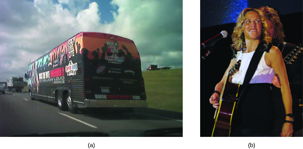 "Image A is of a tour bus driving along a road. Print on the back of the bus reads ""Rock the Vote"". Image B is of Sheryl Crow holding a guitar."