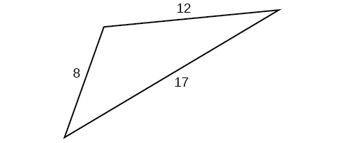A triangle with sides 8, 12, and 17. Angles unknown.