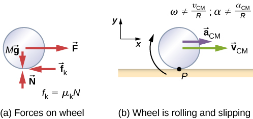Figure a shows a free body diagram of a wheel, including the location where the forces act. Four forces are shown: M g is a downward force acting on the center of the wheel. N is an upward force acting on the bottom of the wheel. F is a force to the right, acting on the center of the wheel, and f sub k is a force to the left acting on the bottom of the wheel. The force f sub k is equal to mu sub k times N. Figure b is an illustration of the wheel rolling and slipping on a horizontal surface. The wheel has a clockwise rotation, an acceleration to the right of a sub C M and a velocity to the right of v sub V M. omega does not equal v sub C M over R and alpha does not equal a sub C M over R. A coordinate system with positive x to the right and positive y up is shown.