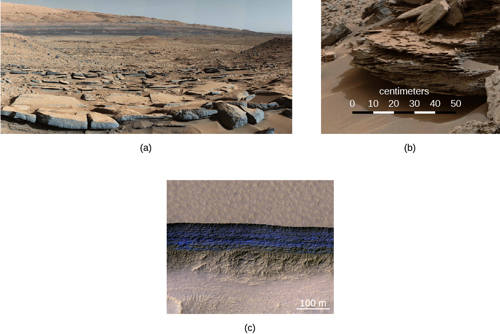 "Curiosity in Gale crater. A wide-field photo taken within the crater is presented in panel (a), on the left. A formation of flat, cracked rocks is seen in the lower half of the image. Panel (b), on the right, shows a close-up of a rock within the crater. The rock shows many distinct layers which perhaps is evidence of flowing water and sedimentation. The scale at bottom is labeled ""centimeters,"" and goes from zero to 50."
