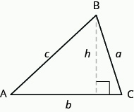 A triangle is shown. The vertices are labeled A, B, and C. The sides are labeled a, b, and c. There is a vertical dotted line from vertex B at the top of the triangle to the base of the triangle, meeting the base at a right angle. The dotted line is labeled h.