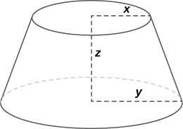 A conical frustum (that is, a cone with the pointy end cut off) with height x, larger radius y, and smaller radius x.