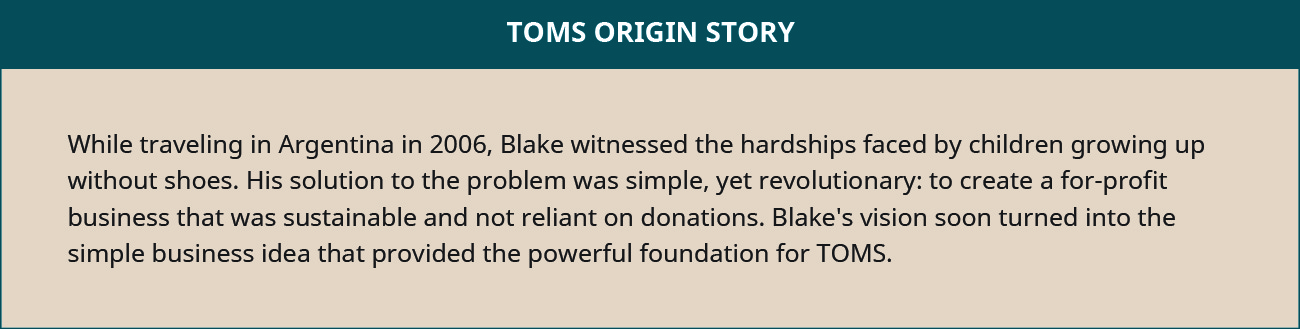 TOMS' origin story is provided: While traveling in Argentina in 2006, Blake witnessed the hardships faced by children growing up without shoes. His solution to the problem was simple, yet revolutionary: to create a for-profit business that was sustainable and not reliant on donations. Blake's vision soon turned into the simple business idea that provided the powerful foundation for TOMS.