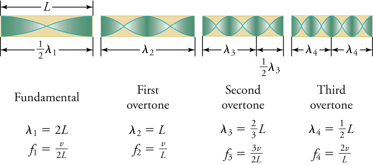The fundamental frequency is v/2L and has a wavelength of 2L. The first overtone has a wavelength of L and a frequency of v/L. The second overtone has a wavelength of 2L/3 and a frequency of 3v/2L. The third overtone has a wavelength of ½L and a frequency of 2v/L.