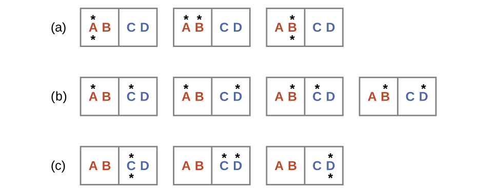 "Three rows labeled a, b, and c are shown and each contains rectangles with two sides where the left side is labeled, ""A,"" and ""B,"" and the right is labeled, ""C,"" and ""D."" Row a has three rectangles where the first has a dot above and below the letter A, the second has a dot above the A and B, and the third which has a dot above and below the letter B. Row b has four rectangles; the first has a dot above A and C, the second has a dot above A and D, the third has a dot above B and C and the fourth has a dot above B and D. Row c has three rectangles; the first has a dot above and below the letter C, the second has a dot above C and D and the third has a dot above and below the letter D."