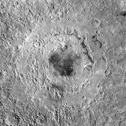 Image of Mare Orientale. A huge impact basin not seen directly from Earth, with many terraced rings extending out about 500 km from the flat, lava-filled central basin.