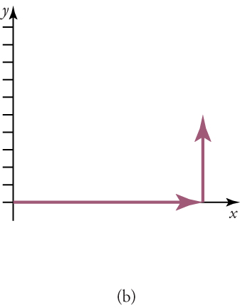 The diagram shows a vector along an x-axis with a magnitude of nine units and a direction of 0°. A vertical vector is also shown at nine units with a height of five units. A y-axis is also shown with ten tick marks.
