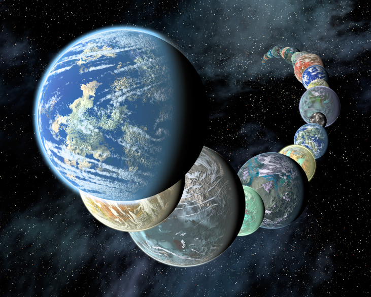 A painting of Many Earthlike Planets. Earth is in the foreground, overlapping with a twisting row of various planets that extend off into the background.
