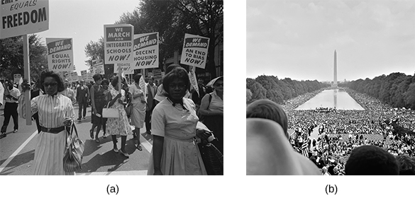 "Photograph (a) shows a group of African American protesters marching in the street, carrying signs that read ""We demand equal rights NOW!""; ""We march for integrated schools NOW!""; ""We demand equal housing NOW!""; and ""We demand an end to bias NOW!"" Photograph (b) shows a massive crowd gathered on the National Mall during the March on Washington."