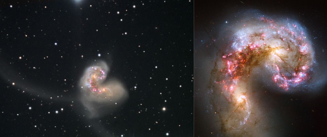 Colliding Galaxies. The panel on the left is a ground-based image of NCG 4038 and 4039, with streams of material torn out of the galaxies during the collision at center left and upper right. The panel on the right shows the cores of the two galaxies taken by the Hubble Space Telescope.