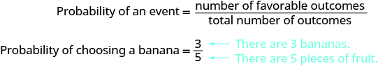 Two equations are shown. The top equation says the probability of an event equals the number of favorable outcomes over the total number of outcomes. The bottom equation says the probability of choosing a banana equals 3 over 5. There is a blue arrow pointing to the 3 with the text, 'There are 3 bananas.' There is a blue arrow pointing to the 5 with the text, 'There are 5 pieces of fruit.'