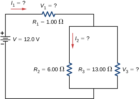 The figure shows a circuit with three resistors and a voltage source. The positive terminal of voltage source of 12 V is connected to R subscript 1 of 1 Ω with left current I subscript 1 connected to two parallel resistors R subscript 2 of 6 Ω with downward current I subscript 2 and R subscript 3 of 13 Ω