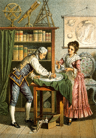 Painting of William Herschel and Caroline Herschel at work polishing the mirror of a telescope.