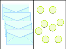 This image has two columns. In the first column are four envelopes. In the second column there are 8 blue circles.