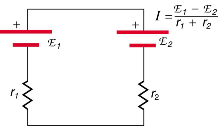 The diagram shows a closed circuit containing series connection of two cells of e m f script E sub one and internal resistance r sub one and e m f script E sub two and internal resistance r sub two. The positive end of E sub one is connected to the positive end of E sub two.