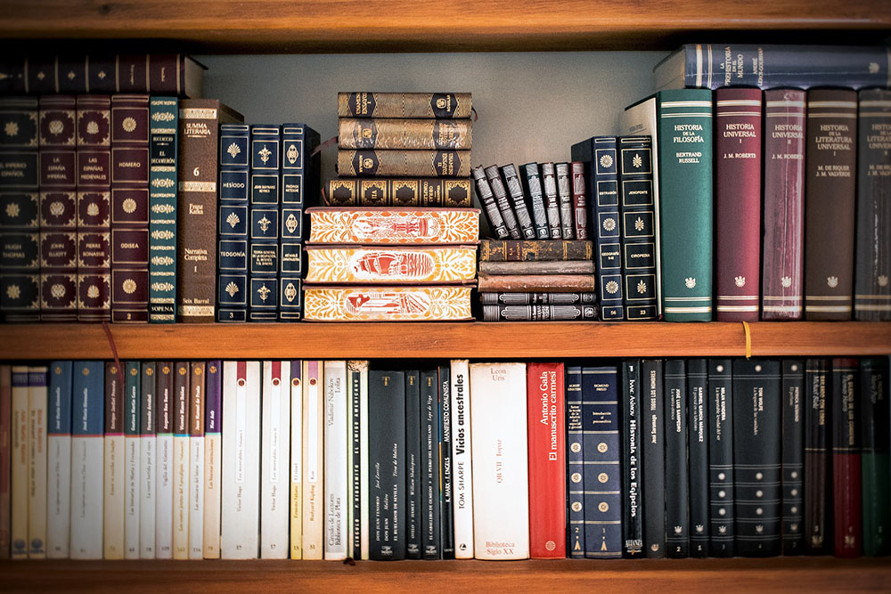 A photo of a bookshelf holding new and old books.
