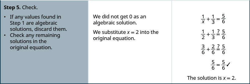 Step 5 is to check the solution. Remember that any solutions that makes the original expression undefined must be discarded. The solution is not 0. Substitute x is equal to 2 into the original equation, 1 divided by x plus one-third is equal to five-sixths. Is one-half plus one-third is equal to five-sixths a true equation? Is three-sixths plus two-sixth is equal to five-sixths a true equation? Three-sixths plus two-sixth is equal to five-sixths. Five-sixth is equal to five-sixth is a true equation. So, the solution is x is equal to 2