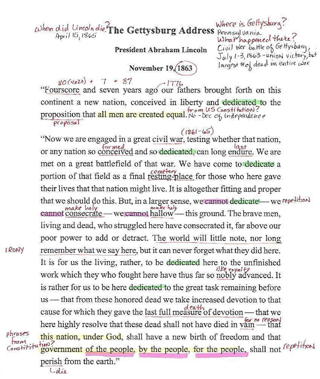 A well annotated version of the Gettysburg Address by President Abraham Lincoln, November 19, 1863 by a student.