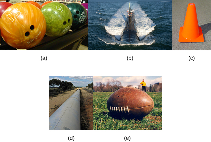 This figure has 5 images. The first image shows bowling balls. The second image is a submarine traveling on an ocean surface. The third image is a traffic cone. The fourth image is a pipeline across some barren land. The fifth image is a football.