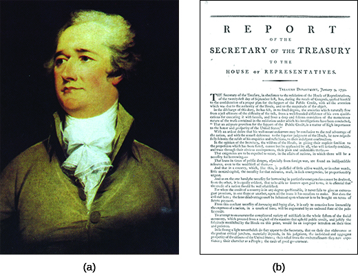"Painting (a) is a portrait of Alexander Hamilton. Image (b) shows the first page of the ""Report on Public Credit."""