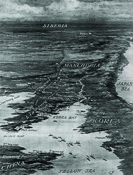 A contemporaneous military map shows the battlefields of the Russo-Japanese War.