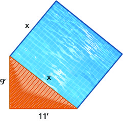 This figure is an illustration of a square pool with a deck in the shape of a right triangle. the pool's sides are x inches long while the deck's hypotenuse is x inches long and its legs are nine and eleven inches long.