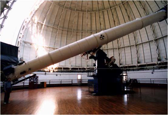 Photograph of a telescope in an observatory.