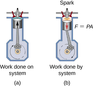 There are two illustrations representing an engine cylinder with a piston. The first figure is labeled Work done on a system (a) and has a piston at the top of the stroke with a black arrow pointing up toward the top of the cylinder. The second figures is labeled Work done by system (b) and has the cylinder moving down and clockwise around the center of the cylinder. At the top of the second diagram is red arrow pointing down toward the bottom of the cylinder and the equation F = PA.
