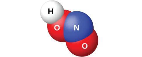"A space filling model shows a blue atom labeled, ""N,"" bonded on two sides to red atoms labeled, ""O."" One of the red atoms is bonded to a white atom labeled, ""H."""