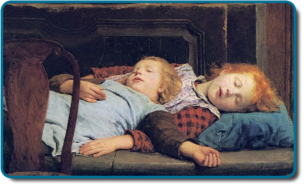 A painting shows two children sleeping.