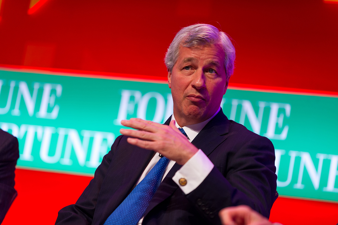 A photo shows Jamie Dimon addressing in a talk show.